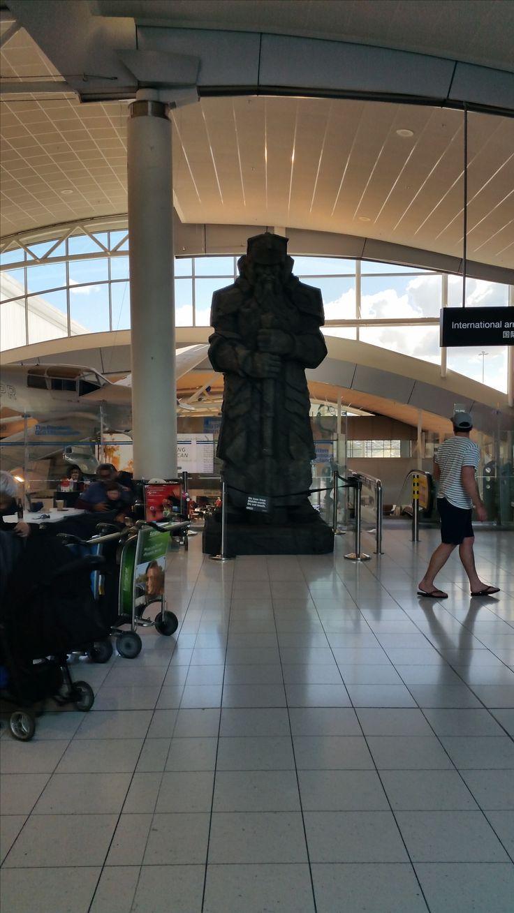 15 foot Hobbit inspired dwarven statue at Auckland International Airport.