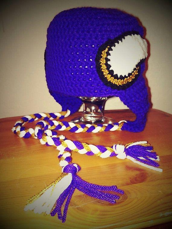 Crochet Minnesota Vikings Football Helmet by CreatedWithaHook, $20.00