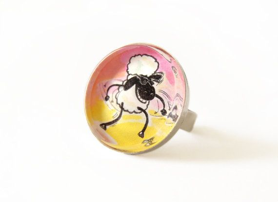 Funky sheep adjustable round ring with glass by FunkyFancyAnimals, €7.00