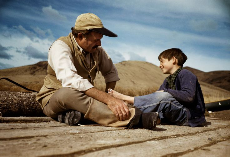 Ernest Hemingway with his son Gregory. ˆ  Photo: Robert Capa: USA. Sun Valley, Idaho. 1941 International Center of Photography (Magnum Photos)