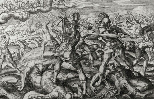 Apocrypha 190. Maccabees protected. 2 Maccabees cap 10 vv 29-30. De Jode. Phillip Medhurst Collection