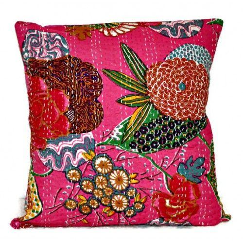 Pink Kantha Pillow