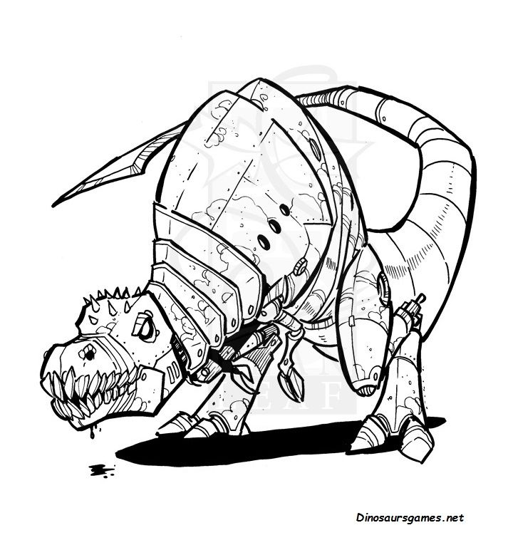 This Is The Black And White Image Of Robot Trex Coloring Pages