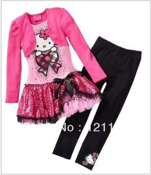 Розничная бесплатная доставка 2013 детей Весна + Осень 2шт Устанавливает юбка костюм Hello Kitty платье новорожденных девочек одежда устанавливает рубашку + брюки 446,51 - 467,63
