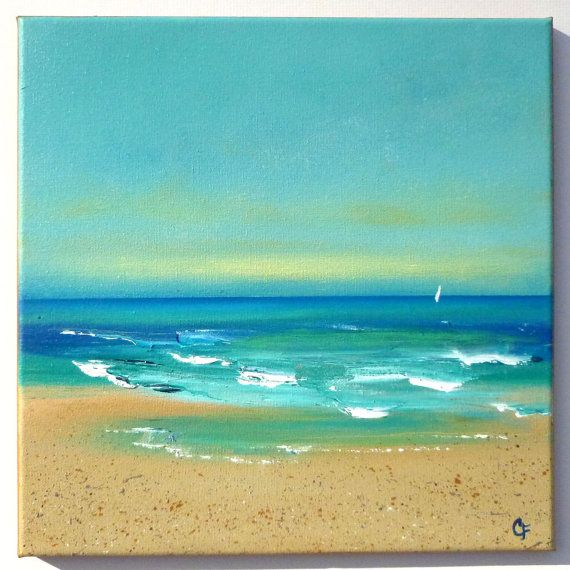 Playa del Caribe pintura acrílica marino 12 x 12 pintar con