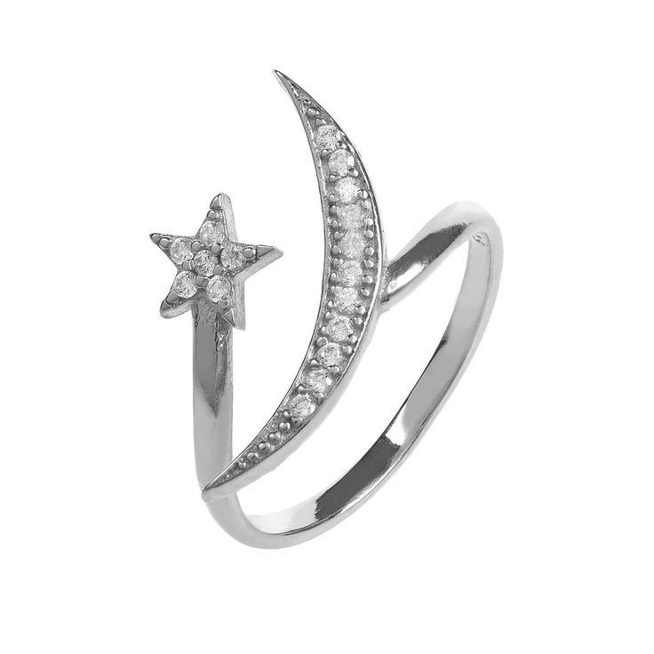 Moon and Star Ring Sterling Silver