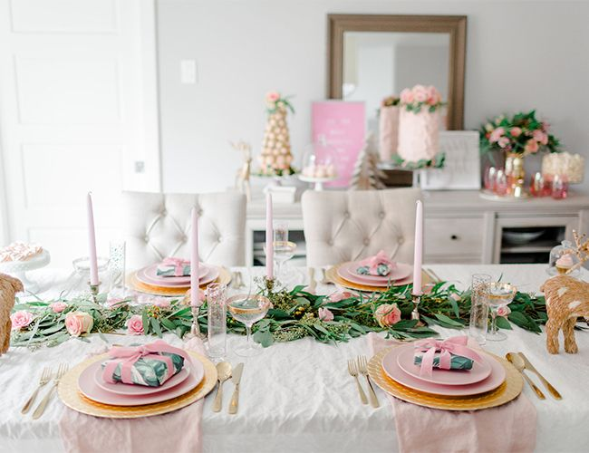 Feminine Pink And Gold Christmas Party Gold Christmas Christmas Table Decorations Christmas Table Settings