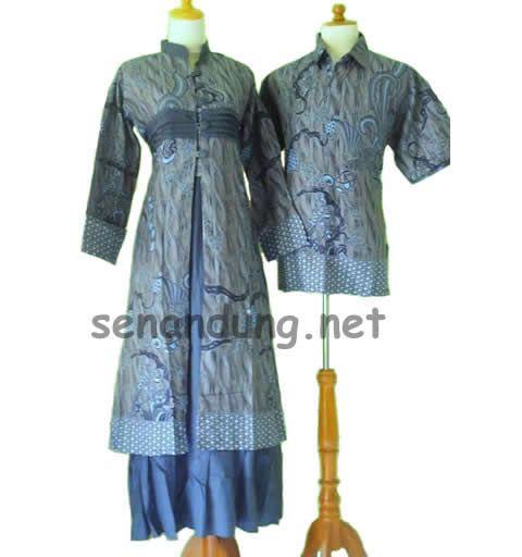 gamis batik sarimbit muslim modern abu abu