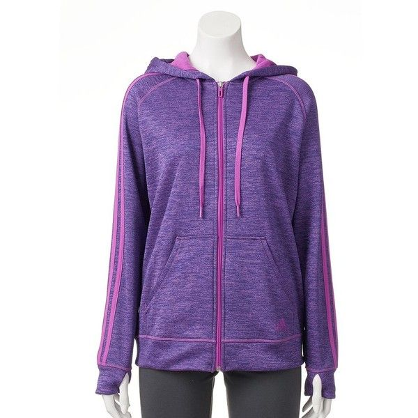 Women's Adidas Striped Zip Up Fleece Hoodie ($42) ❤ liked on Polyvore featuring tops, hoodies, brt purple, fleece hooded sweatshirt, zip up hoodie, zip front hooded sweatshirt, hooded zip up sweatshirt and zip front hoodie