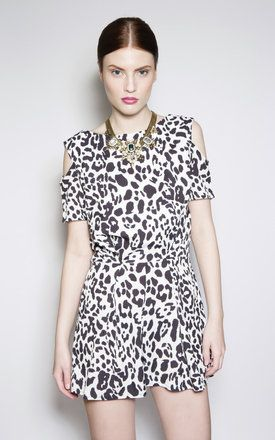 Black And White Animal Print Playsuit - with lace back
