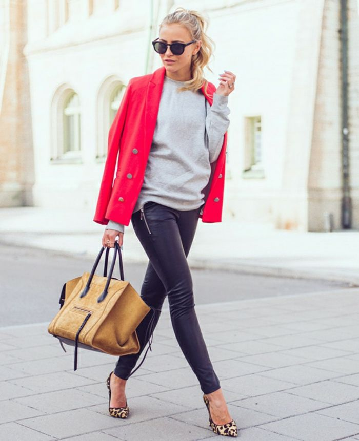 e409a5397b business casual attire for women, blonde woman with ponytail, wearing grey  top and black leather trousers, hot pink blazer over shoulders, with high  heels ...