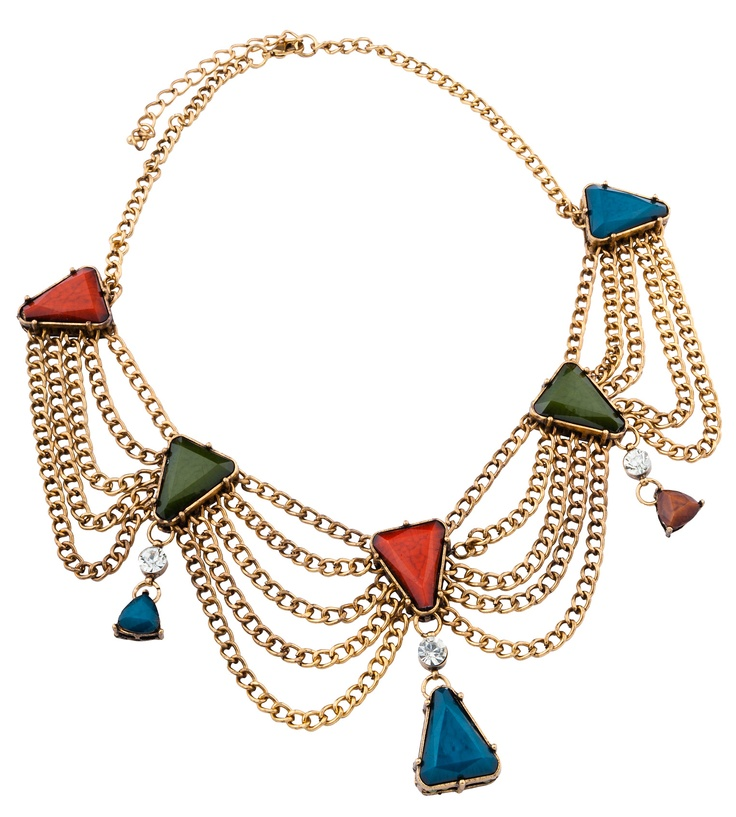 TRIANGLE DECO CHAIN VINTAGE NECKLACE