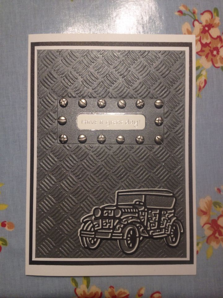 Tattered lace vintage car. Father's Day or birthday card.