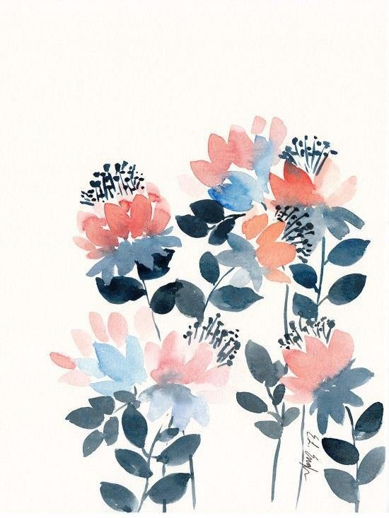 Pink And Navy Floral Wallpaper