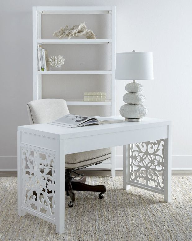 Furniture. Perfect Inspiring White Desk Office Designs. Wonderful Decorating Office White Desk Idea Come With Artistic Rectangle White Carved High Gloss Finish Freestanding Workbench And Freestanding White Urn Triangular Unique Table Lamp Plus Beige Leather Freestanding Luxury Office Swivel Chair
