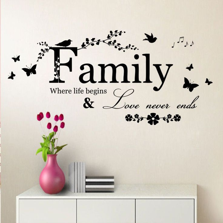 Family Where Life Begins Butterfly Wall Art 30x65cm Quote Sticker   Free Worldwide Shipping!  Only $5.69    Order from: www.happycozyhome.com