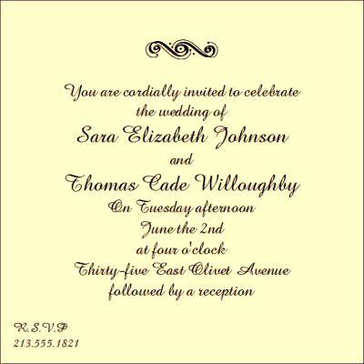 Plan your wedding » informal wedding invitation wording