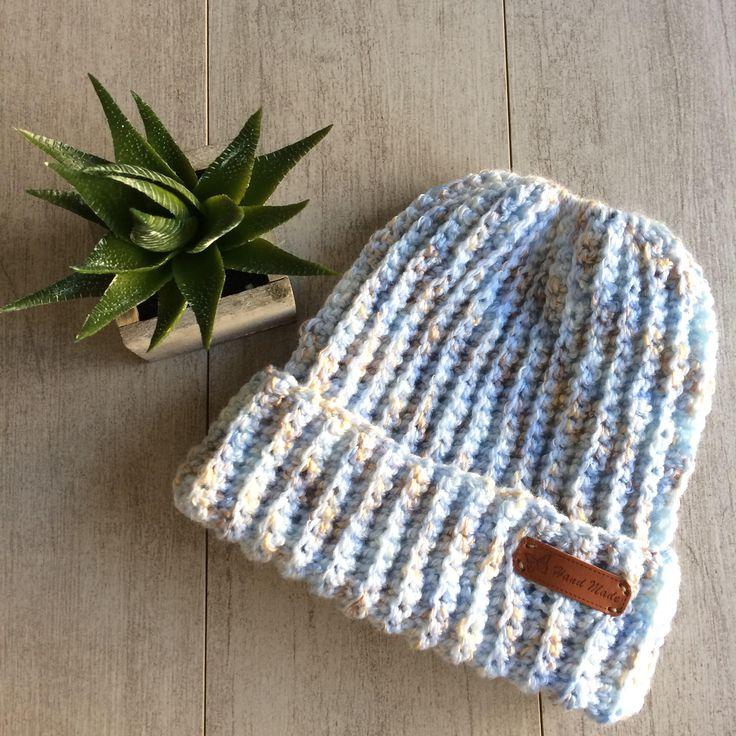 Messy bun hat, bun hat, blue crochet hat, messy bun, multi colour hat. by LovelyByInga on Etsy