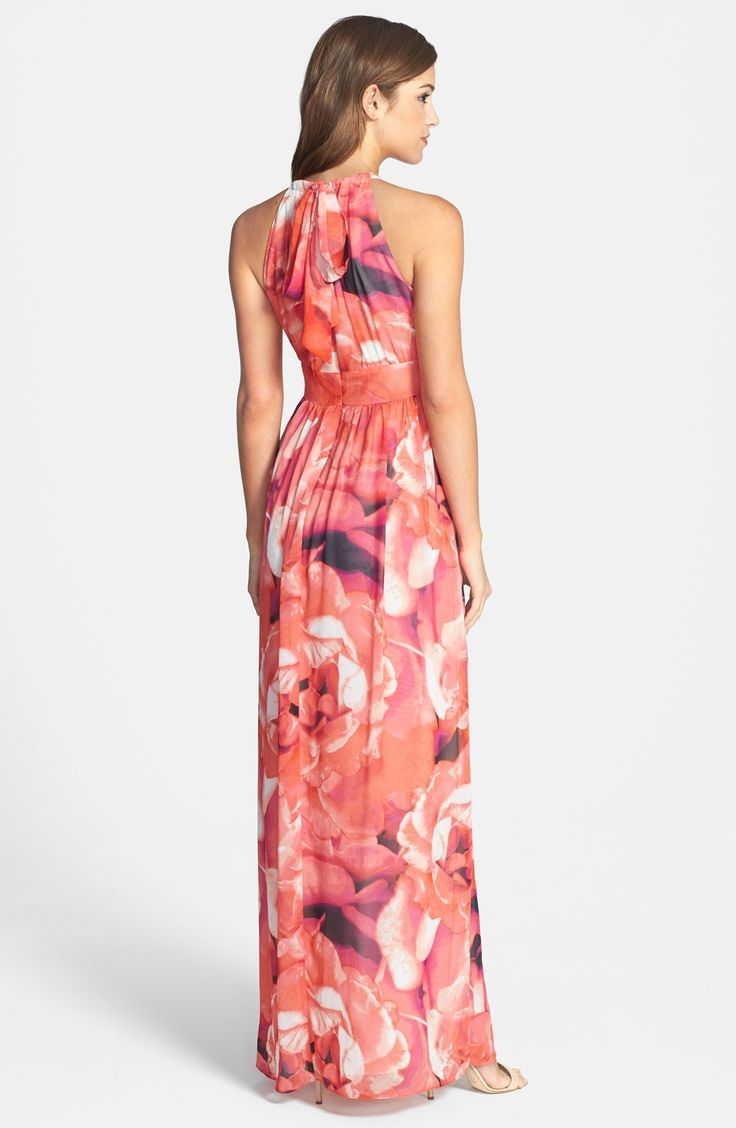 Free shipping and returns on Eliza J Print Chiffon Fit & Flare Maxi Dress at Nordstrom.com. Pretty pleats create flattering shape down the modified-halter bodice of this flowy gown flattered by a waist-narrowing inset.