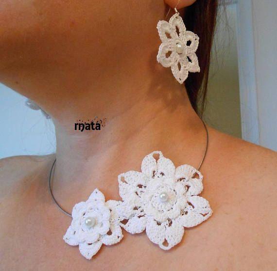 parure bijoux fleur/bijoux mariage/Parure fleurs coton