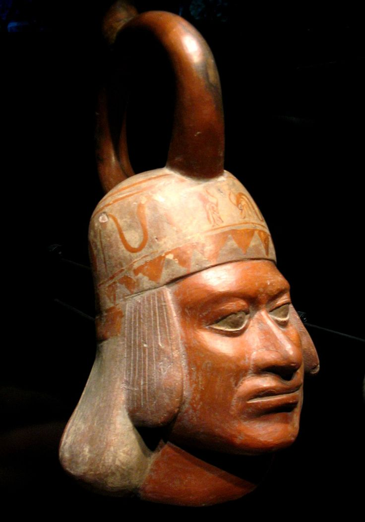 Vasija moche en forma de cabeza humana, Museo del muelle Branly, ca. 100—700 CE, 16 x 29 x 22 cm.