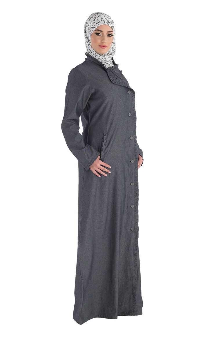 Modeled after one of our best-selling Arub abaya. Now offered in a chambray fabric. Great for Hajj or Umrah and any other occasion.