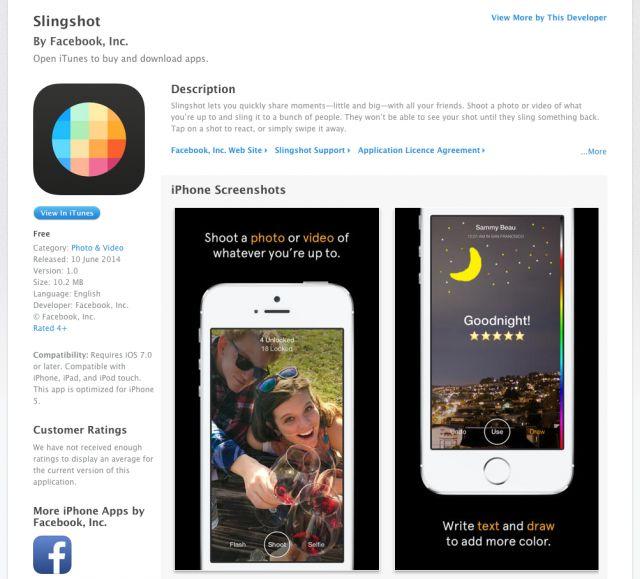 Facebook pubblica per errore sull'App Store #Slingshot applicazione competitor di Snapchat