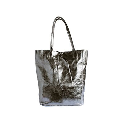 Tania Italian Silver Leather Shopper Bag - £49.99