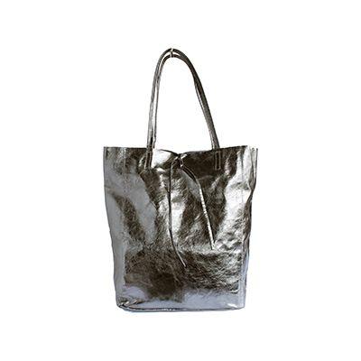 Tania Italian Silver Leather Shopper Bag - £49.99