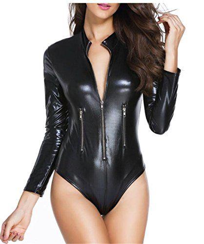 8f6e11ca20 Gocgt Women s Long Sleeved Zip PU Faux-Leather Jumpsuits Slim Sexy Bodysuit