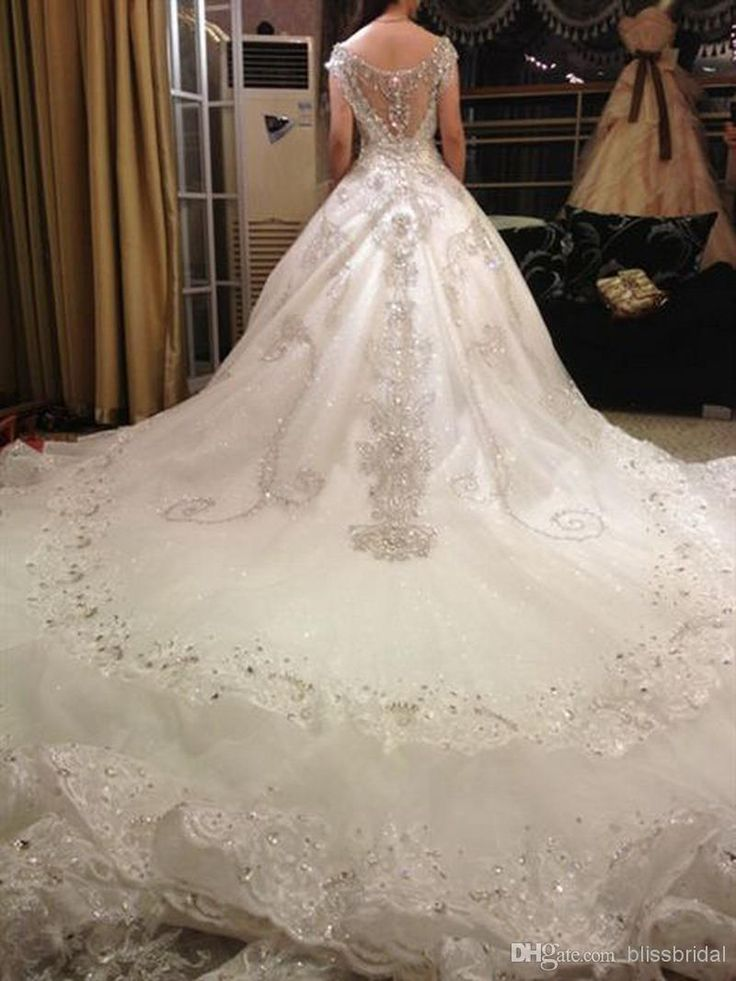 Wholesale Ball Gown Wedding Dresses - Buy Hot Luxury V-Neck Ball Gown Long Train Silk Organza Lace Applique Zuhair Murad 2014 Church Wedding Dresses Crystal Beaded Bling Bridal Gowns, $533.15 | DHgate