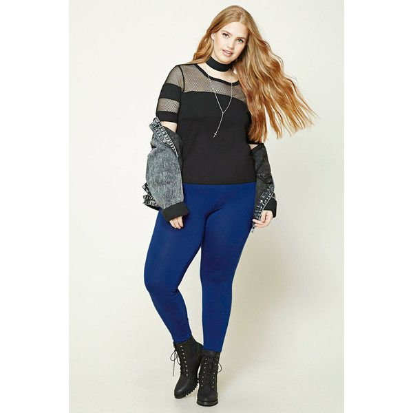 Forever21 Plus Size Leggings ($5.90) ❤ liked on Polyvore featuring plus size women's fashion, plus size clothing, plus size pants, plus size leggings, indigo, white trousers, white pants, white elastic waist pants, white leggings and legging pants