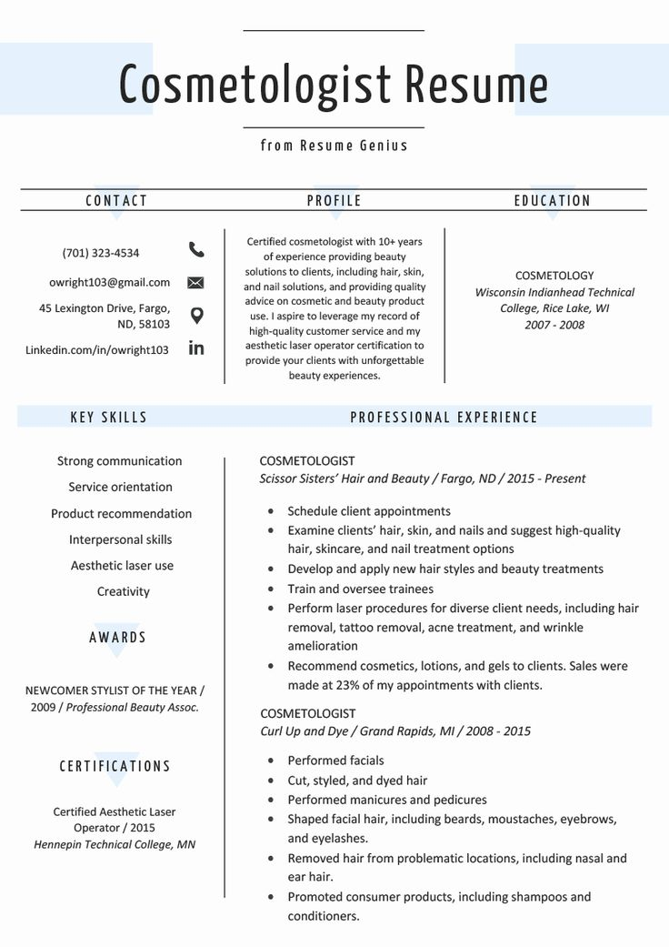 Entry Level Esthetician Resume Best Of Cosmetology Resume