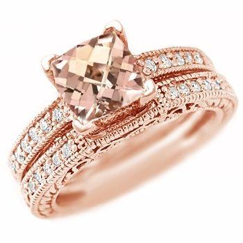 Pink Peach Morganite Diamond Matching Engagement Ring Set 14k Gold