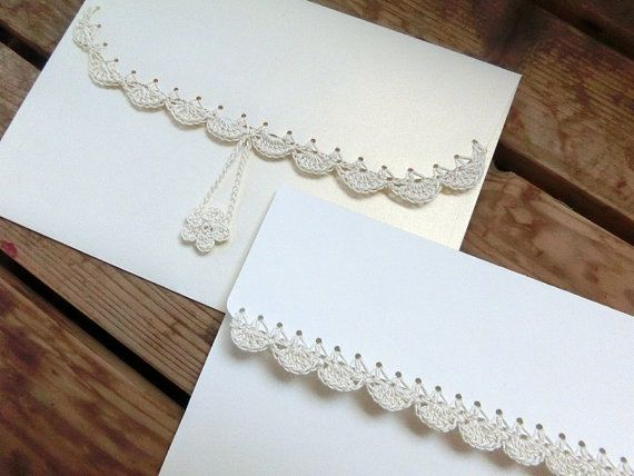 Blank Stationary Set. Crochet Embellished Blank Greeting Card. Wedding Greeting Card, Christmas Greeting Card, Ivory Card and Envelope