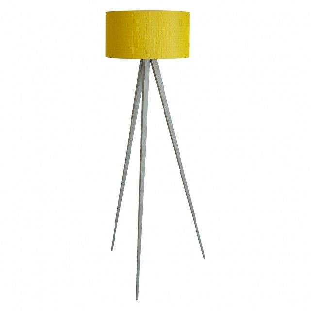 The Yves Grey Tripod Floor Lamp Base And Drum Silk Shade Are A Perfect Pairing Buy Now At Habitat Uk Tripod Floor Lamps Grey Tripod Floor Lamp Floor Lamp