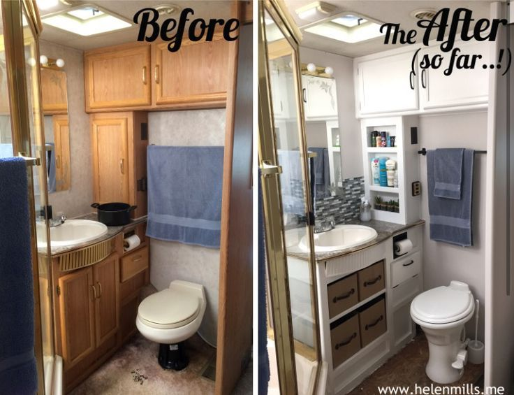 RV bathroom redo. Removing the cabinet doors and using storage bins is a great idea!