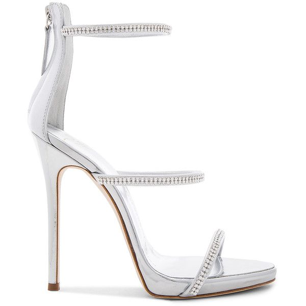 Giuseppe Zanotti Coline Heel ($930) ❤ liked on Polyvore featuring shoes, heels, sandals, metallic high heel shoes, leather sole shoes, high heel shoes, high heeled footwear and metallic shoes