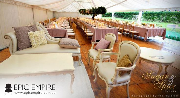 That's a perfect champagne look! Gold Tiffany Chairs, White Baroque pieces and old rose table mantels are the way to go. Throw some complementing cushions and your reception area is all set up. #events #weddings #furniture #furniturehire #byronbay #australia #brisbane #queensland