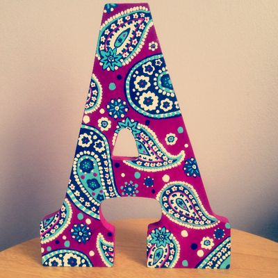 vera bradley hand painted wood letter