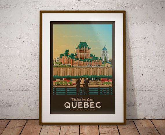 Retrouvez cet article dans ma boutique Etsy https://www.etsy.com/fr/listing/512164647/travel-poster-quebec-chateau-frontenac
