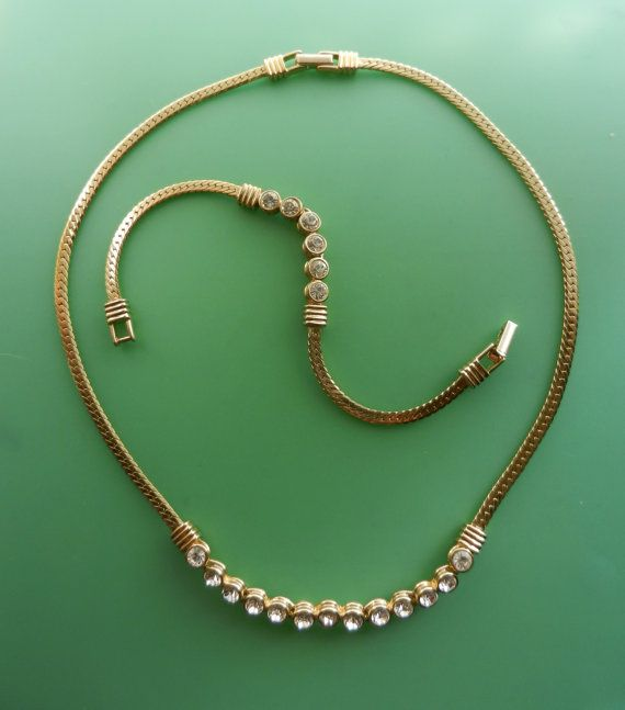 1970s  crystals & flat chain necklace and bracelet by RAKcreations