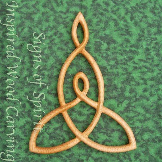 Mère et enfant noeud bois sculpté noeud celtique par signsofspirit
