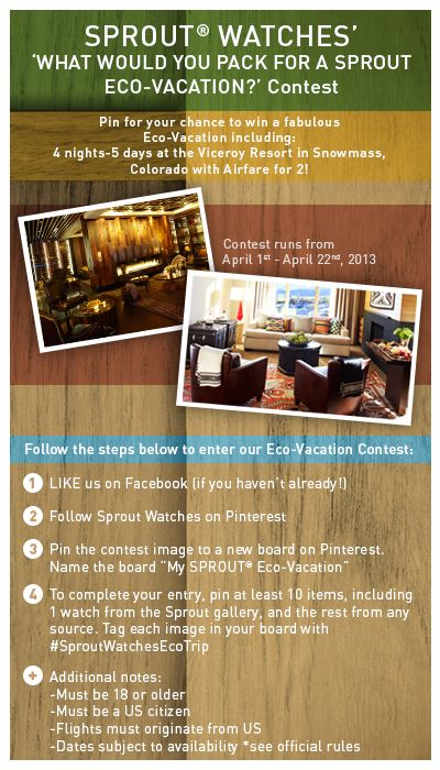 """'Pin to Win' a """"My SPROUT Eco-Vacation"""" 4 days/5 nights including airfare! Visit our facebook page to start your entry!"""