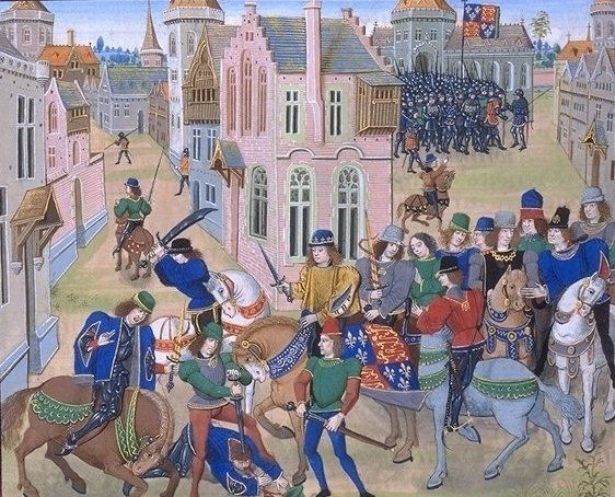 Other than the deposition of Richard II, the Peasants' Revolt in 1391 was the greatest historical event to occur while Chaucer was writing the Canterbury Tales. This image, by Jean Froissart, depicts the turning point of the rebellion