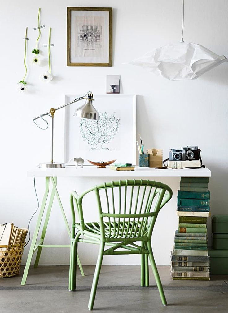 Looking for quick, easy, and unique ideas for a DIY desk? On Livet Hemma, IKEA's own stylists hacked the LERBERG trestle by spray painting it mint green and pairing it with a stack of green books.