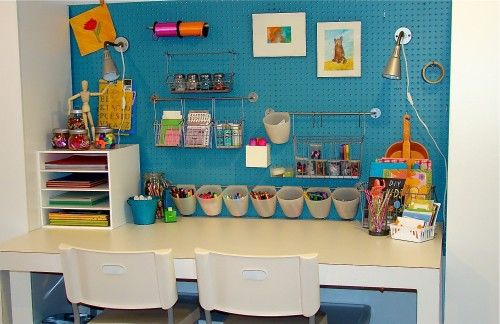 Great craft area for kids...love how everything is organized: Crafts Area, Idea, Crafts Rooms, Kids Art Studios, Peg Boards, Glitter House, Desks, Crafts Tables, Kids Rooms