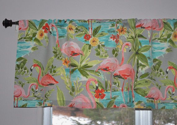 Waverly Indoor/Outdoor Flamingoing Platinum home decor fabric made into adorable tropical valances. Colors include grey, aqua, green, red, coral, peach, teal, gold, yellow and ivory.  This fabric is 100% spun poly and is easy to care for, just swoosh in cool water, air dry and thats