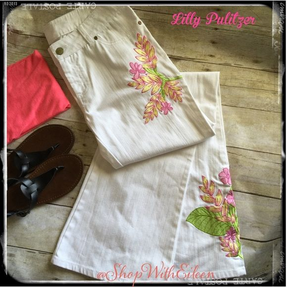 SALELilly Pulitzer Wht Denim Embroider Jean Lilly Pulitzer White Denim Embroidered boot cut Jean NWOT These jeans are PERFECT for Spring & Summer! Pair them with a fun bright complimentary Tshirt, some flip flops, jewelry & sunnies & you are out the door! Size 6 Lilly Pulitzer Jeans Boot Cut