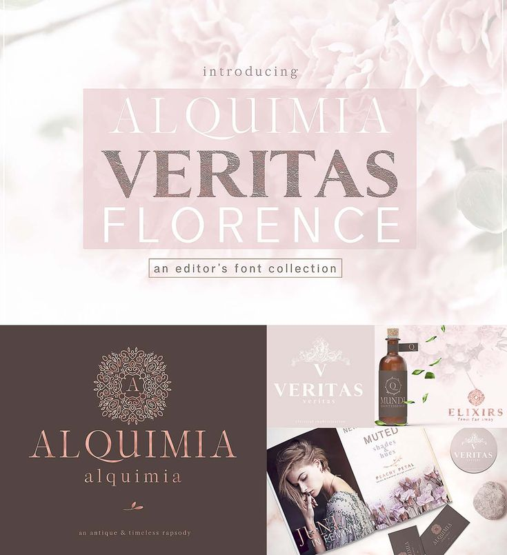 Alquimia, Veritas and Florence - a font trio that embodies luxurious simplicity. A perfect alchemical composition, timeless and at the same time modern, that evokes distant times. Perfect for magazines, logo design and any type of design project that requires a elegant & classical touch. 3 font personalities that complement each other perfectly, to be used together or by themselves. Free for download. For personal use. File format: .otf, .ttf for Photoshop or other software. File size: 1 ...